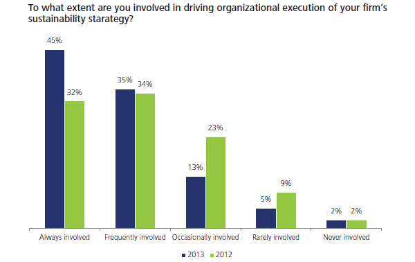 involved in driving organisational execution of sustainability strategy